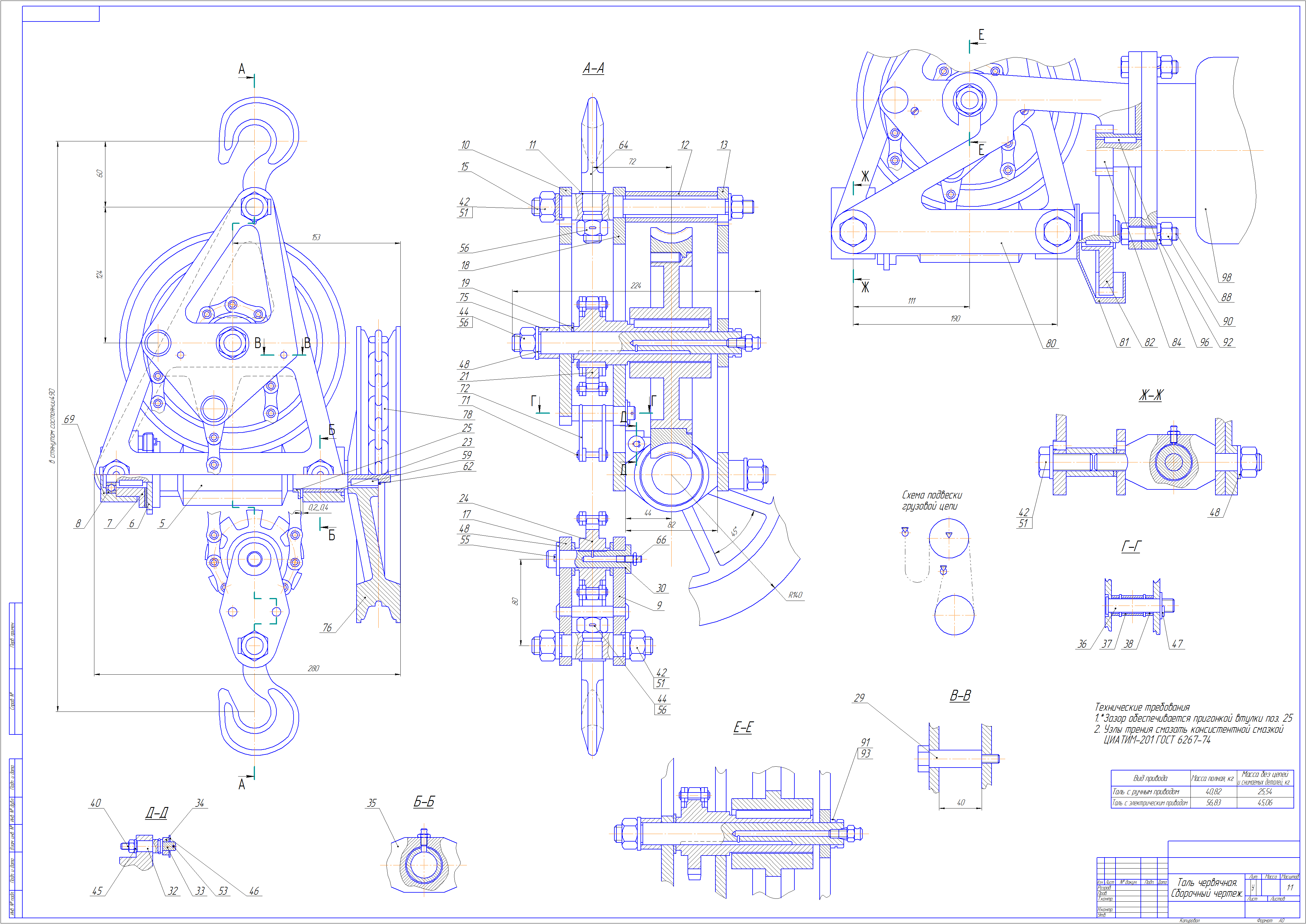 Схема кинематическая ручной тали